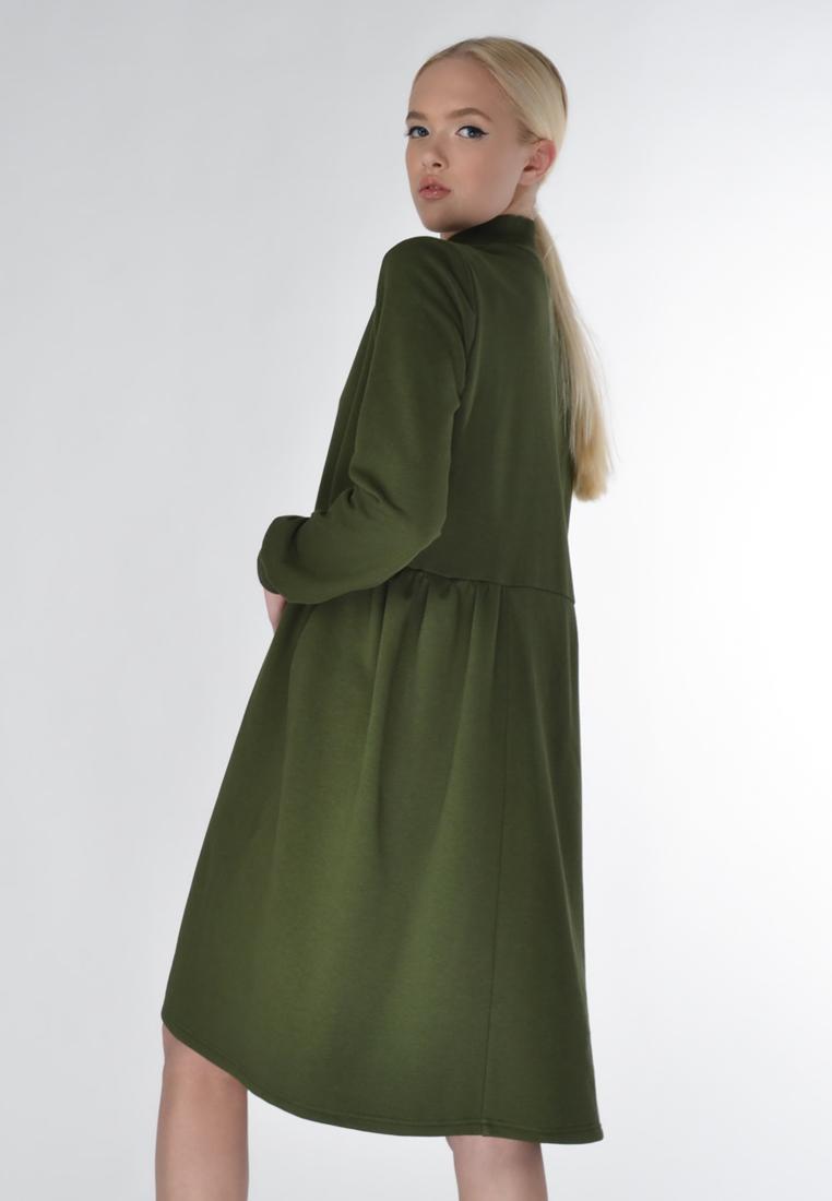 6c9696b7170 Теплое платье цвета хаки — Повседневная женская одежда от ...