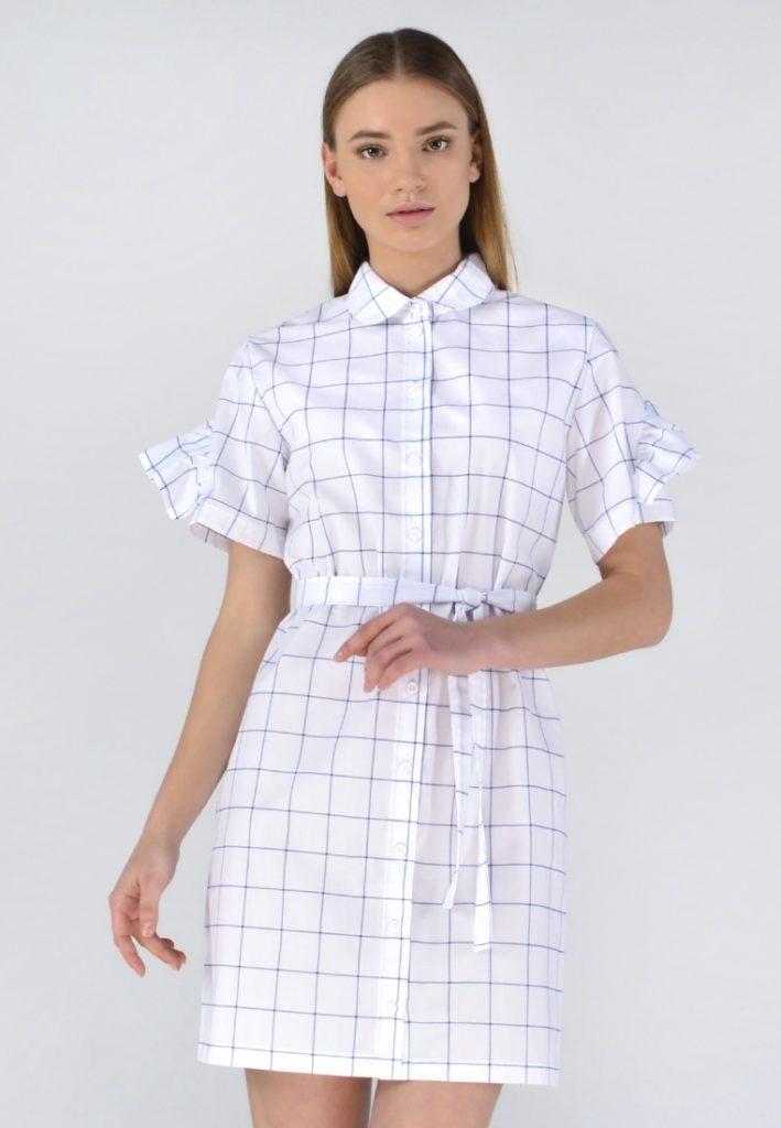 d55e76c8c40 Платье-рубашка в клетку с рюшей по спинке — Повседневная женская одежда от  украинского дизайнера SHTOYKO